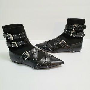 Zara Strappy Studded Buckle Flat Sock Boots Size 5